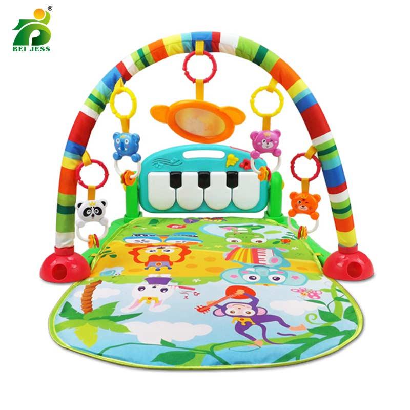 BEI JESS Bébé 3 dans 1 Gym Tapis de Jeu Puzzle Éducation Sanitaire Tapis Piano Clavier De Projection Hochet Développer Pour Enfants tapis
