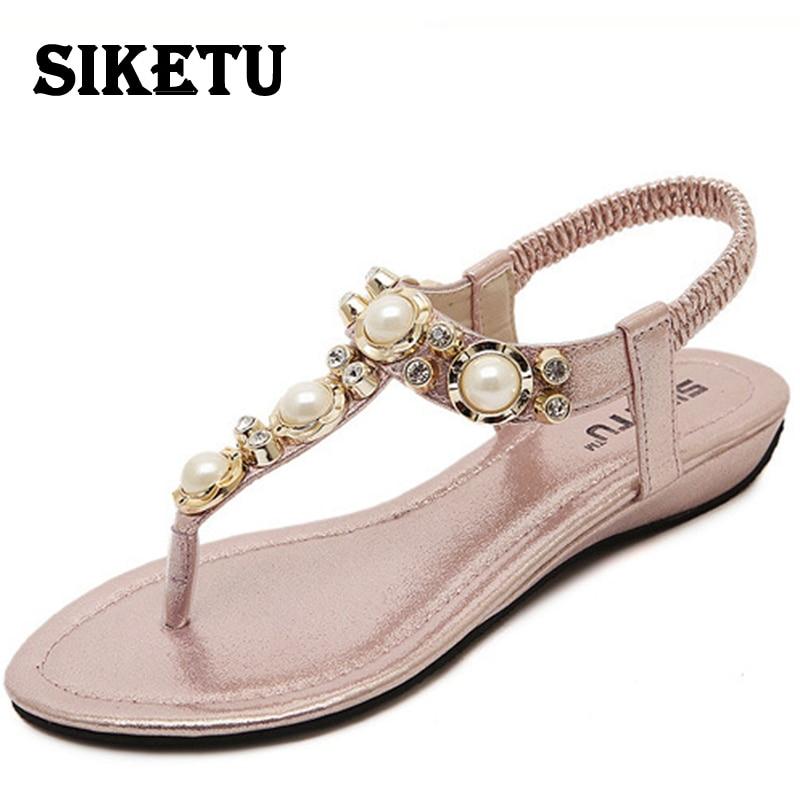 SIKETU Summer Women Sandals 2017 String Bead Sweet Style Flip Flops Elastic Band Casual Shoes Woman Sandalias Black White