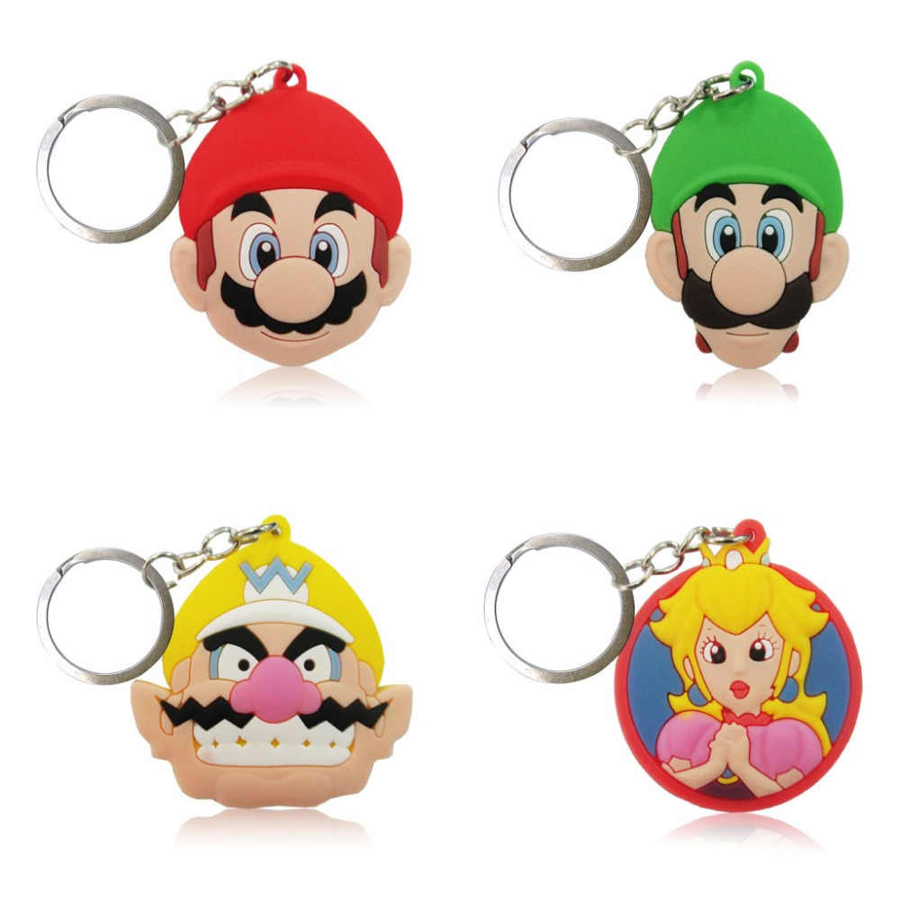 20pcs/lot Super Mario Bros Cartoon Keychain PVC Keyring Kids Gift Key Chain Key Cover Party Favor Chaveiro Jewelry
