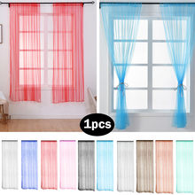 2018 New Fashion Window Curtain Home Bedroom Leaves Sheer Curtain Tulle Window Treatment Voile Drape Valance 1 Panel Fabric(China)