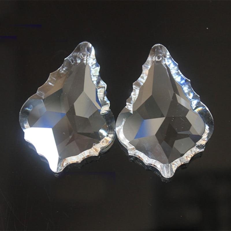 192pcs/lot Transparent 50mm Crystal Glass Maple Leaf Prisms Pendandt Chandelier Parts, Crystal Lamp Parts Hanging Lighting Parts