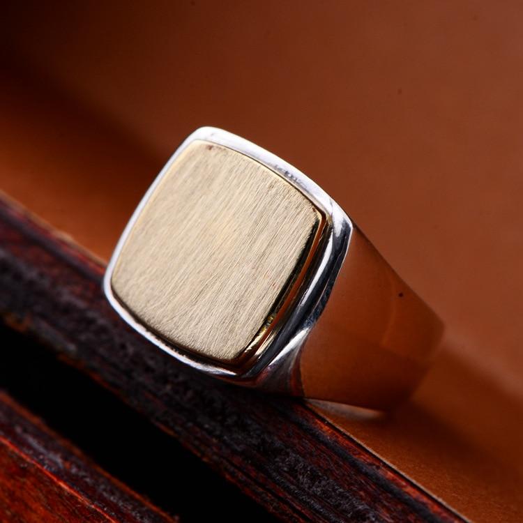 925 Sterling Silver Retro square Ring Men Thai Silver Drawing Finger Ring Boyfriend BF Gift CH060452 mens bracelets braclet men boyfriend gift silver 925 10mm