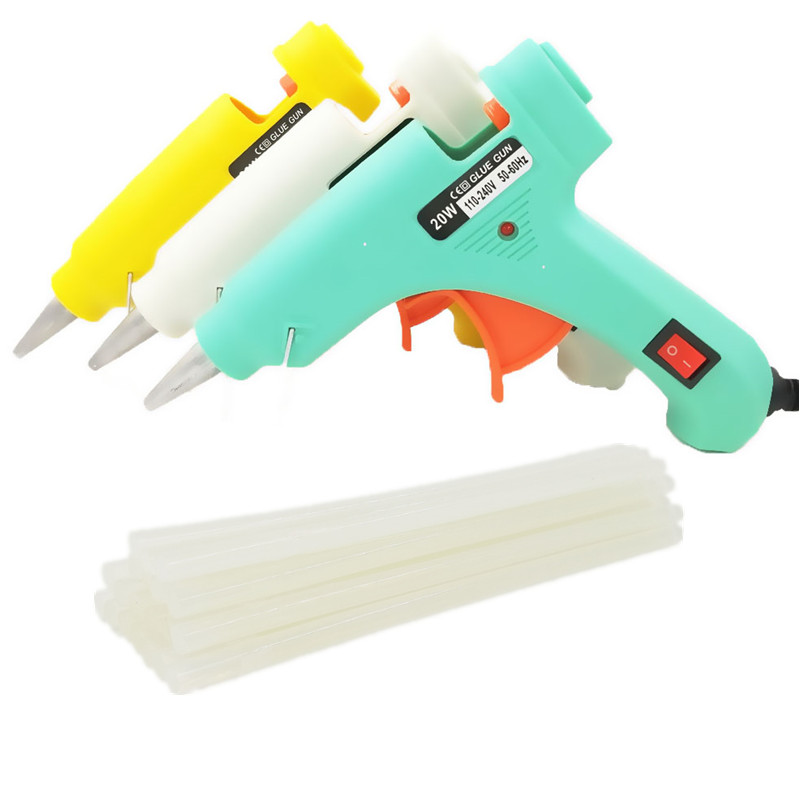 Onnfang Hot Melt Glue Gun 20W With 20/3pcs Free 7mm*190mm Glue Stick Industrial Mini Guns Thermo Electric Heat Temperature Tools
