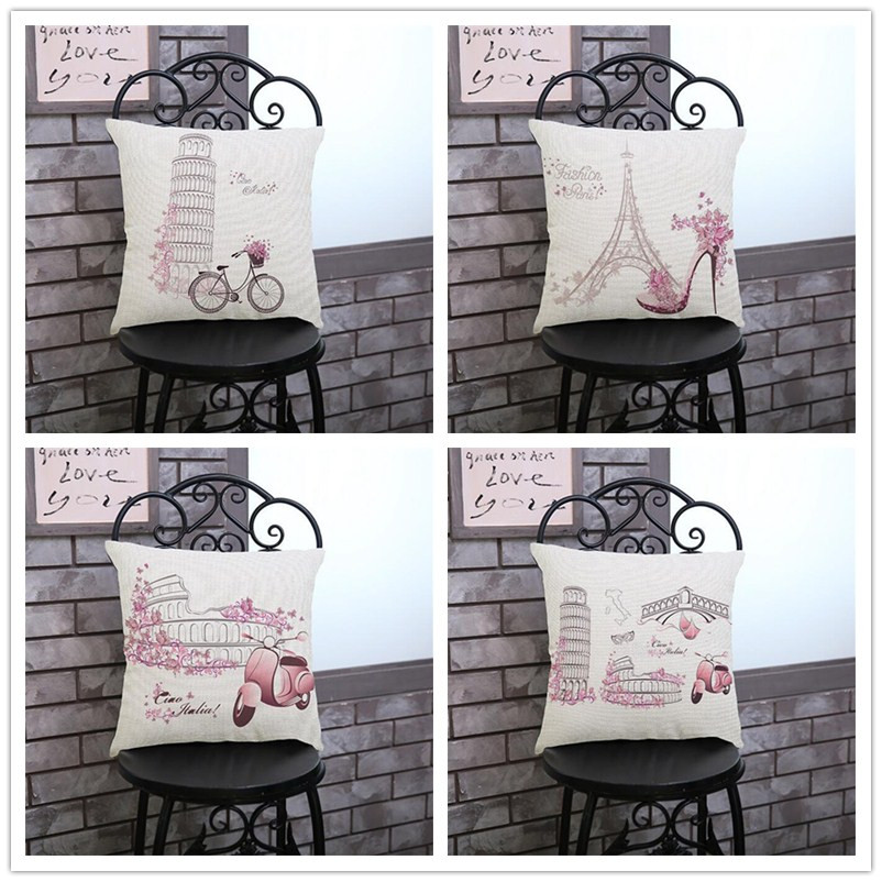 Bicycle Electric Vehicle Print Decorative Cushion Sofa Chair Seat Linen Cotton Square Pillow 45x45cm Throw Pillowcase Home Decor