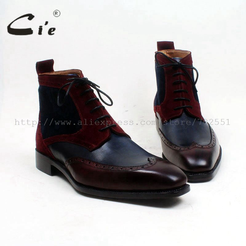 cie square toe wingtips mixed colors navy wine100%genuine calf leather boot handmade bespoke leather lacing men ankle boot A102
