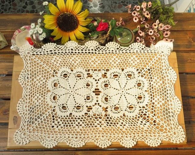 Beige Crochet Fleur Nappes Coton Napperons Tapis Decoratifs Vase