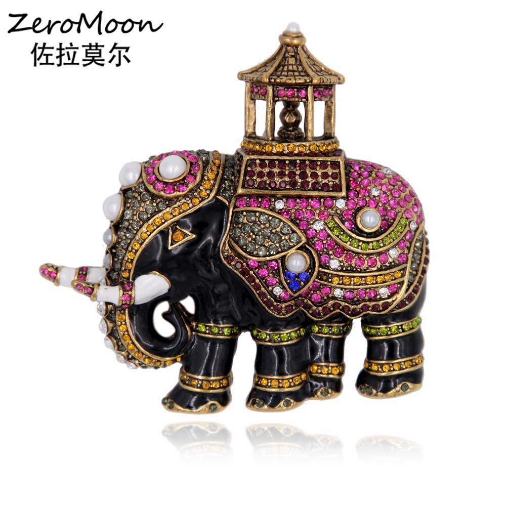 цена на Enamel Thailand Elephant Brooch Pin Pearls Lucky Animal Crystal Rhinestone Vintage Jewelry Accessory