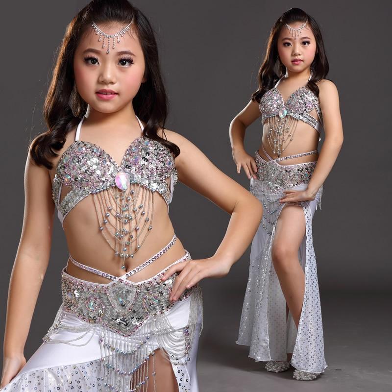 Top Grade Children Belly Dancing Clothes 3 piece Oriental Outfit Bra Belt Skirt Girls Belly Dance