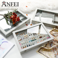 ANFEI Grey Linen Jewelry Display Case for Pendant/Ring Collection Showcase Tray with Glass Lid Shop Organizer Jewelry Box A255