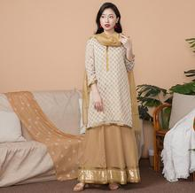 India Fashion Woman Ethnic Styles Set  Cotton Dress Thin Travel Costume Elegent Lady Long Top+Skirt+Scarf