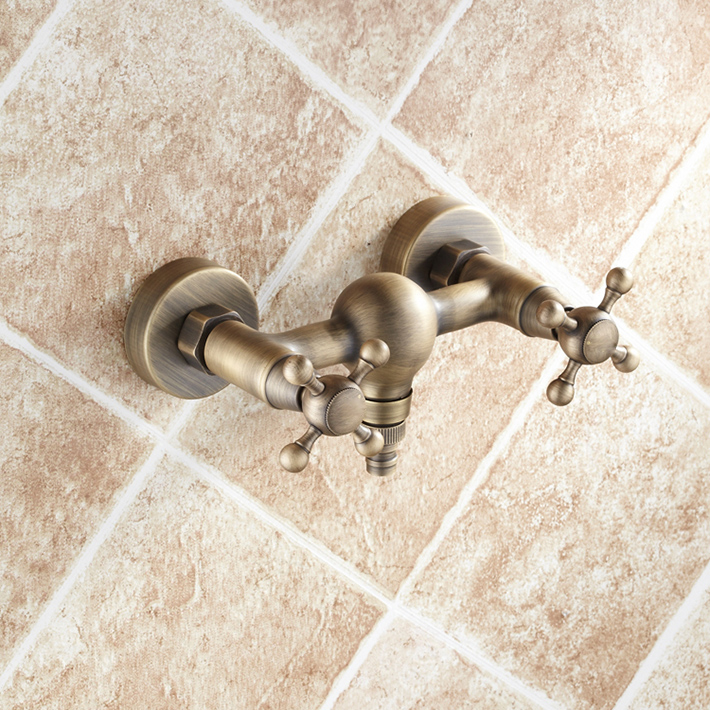 Robinet de douche antique baignoire dans le mur baignoire en cuivre classique pleine de mélangeur de douche chaude et froide avec poignée douche