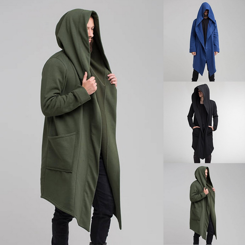 MoneRffi 2019 Men Hooded Sweatshirts Black Hip Hop Mantle Hoodies Fashion Jacket Long Sleeves Cloak Man's Coats Outwear Hot Sale