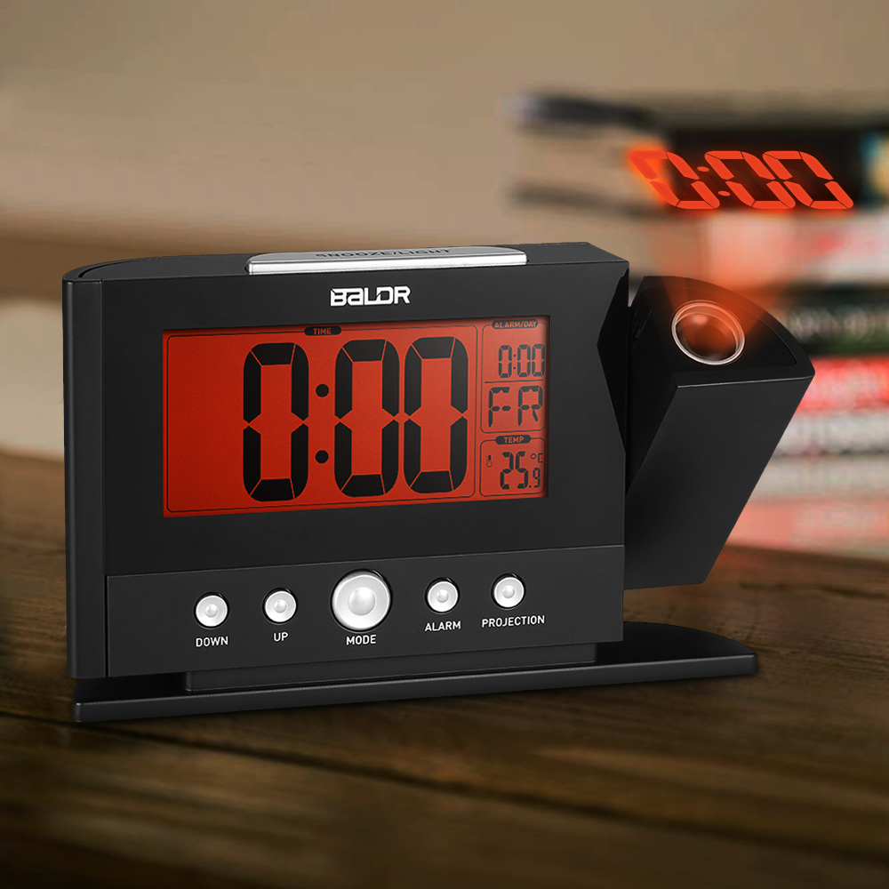 Led Digital Projection Alarm Clock Indoor Temperature Thermo Hygrometer With Weather Forecast