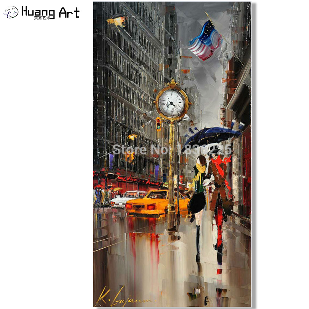 Hand Painted oil painting lovers under umbrella on new york city couple oil painting for Living