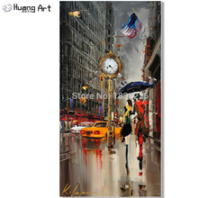 Hand Painted oil Painting lovers under umbrella on new york city couple painting for Living room Wall Art Modern Picture