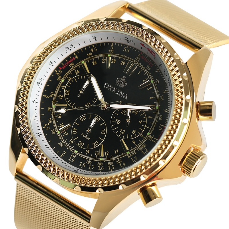MG.ORKINA Big Dial Noble Wrist Watch Men Business 2017 New Fashion Modern Watches Classic Full Gold Mesh Steel Band Mens Clock