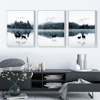 Nordic Scandinavia Landscape Deer Canvas Painting Poster and Print Abstract POP Wall Art Pictures for Living Room Home Decor