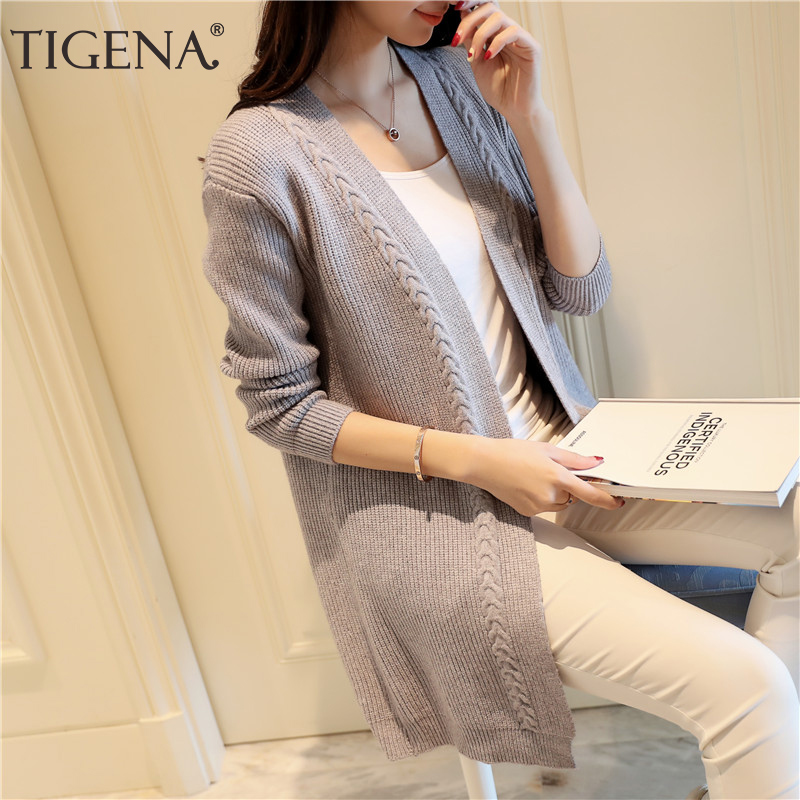 TIGENA 2019 Autumn Winter Midi Long Cardigan Women Casual Korean Long Sleeve Sweater Cardigan Female Knitted Jacket Pink Ladies