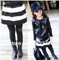 Новый 2016 детская юбка черная белая полоса ребенок девочка дети мода юбки для девочек ребенка принцесса юбки 2Т ~ 8 Оптовая