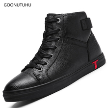2019 fashion men's boots genuine leather platform shoes boot man casual plus size shoe work black ankle military boots for men цены онлайн