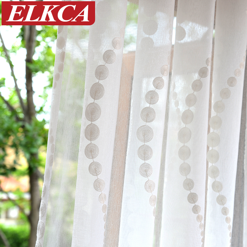 Elegant Wave Embroidered White Tulle Curtains For Living Room Sheer Curtains For Kitchen Modern