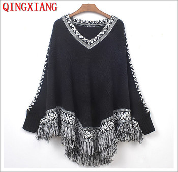 2019 Winter Knitted Bat Long Sleeves Sweater Triangle Tassel Pullover Coat Women V Neck Cape Printed Black Loose Poncho black v neck long sleeves loose plunge knitted sweaters
