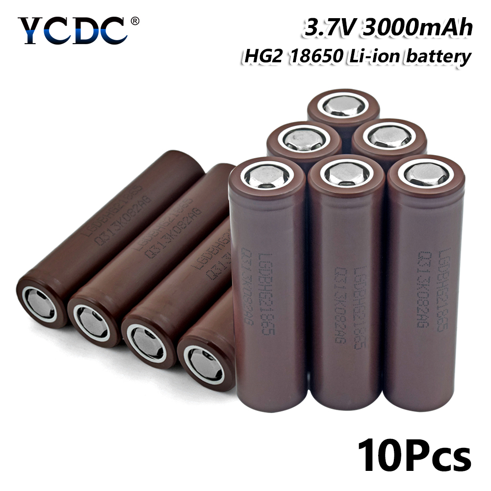 Haute performance hg2 18650 batterie 3000 mah 3.7 v cellule rechargeable 10 pièces pour stylo Laser lampe de poche LED support de batterie de cellule