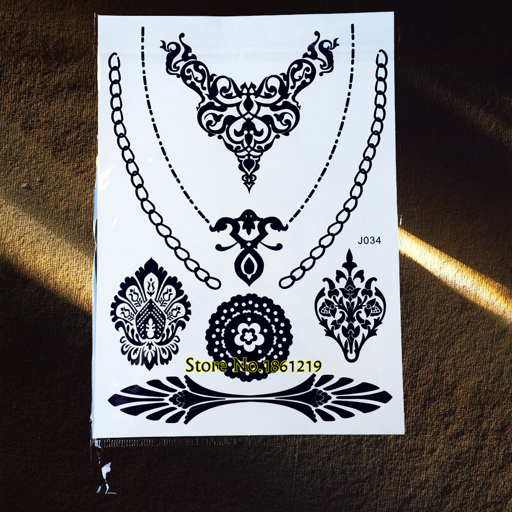 c7b8aded69a7 1PC Fashion Designers Tattoo Henna Paste Black Color GBJ034 Flash Metallic  Waterproof Tattoo Choker Henna Lace Deign Women Party
