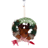 Christmas Wreath Pendant Rattan Decoration Gift Handmade Ring Elk Wreath Holiday Wood Hanging Door Ornament Xmas