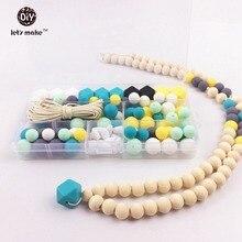 Perlas de silicona Conjunto De Inacabado Hex-geométrico Granos Redondos de Enfermería Dentición Collar de la Menta Verde y Turquesa Bebé Mordedor