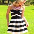 Women dress Fashion girl Black dress Полосатый Над коленом мини дешевые одежда китай Рукавов плюс размер женской одежды
