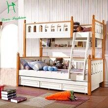Двухъярусная кровать из твердой древесины для детей в средиземноморском стиле