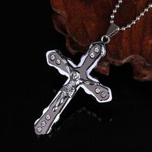 2019 Christian Jesus Cross Crystal Pendant Necklace Stainless