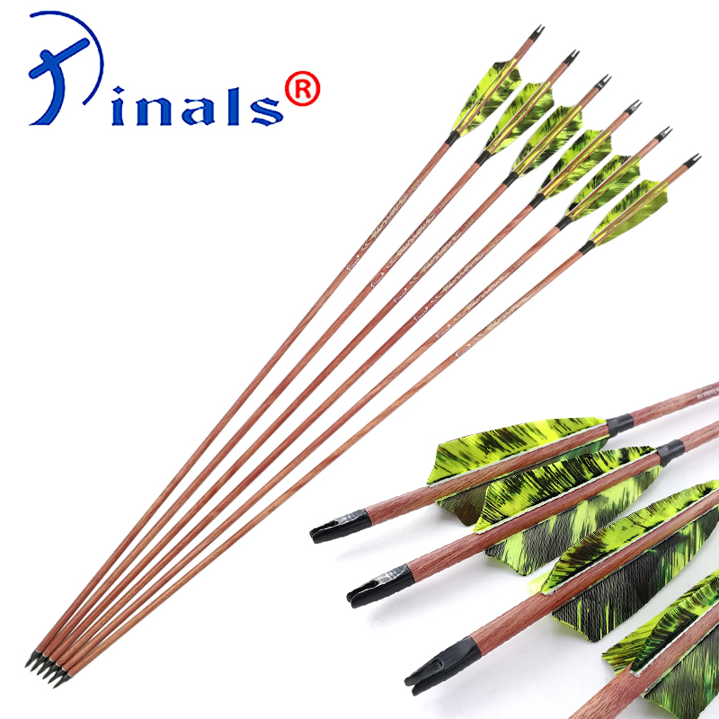 Inals Archery Wood Skin Spine 400 500 600 ID6 2mm Carbon Arrows 32 Inch Shafts 4