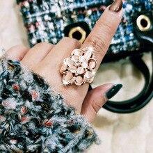 SINLEERY очаровательные кольца в виде цветка с опалом, стразы, модные ювелирные изделия для женщин, вечерние кольца из розового золота JZ200 SSH