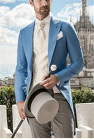Italian Morning Style Gentleman Suit Blue Tailcoat 3 Pieces Mens Wedding Prom Pageant Suits Groom Tuxedos 2019 blazer masculino