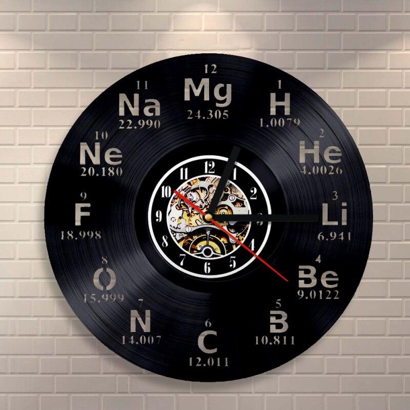 LED Élément Chimique Périodique Disque Vinyle Horloge