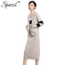 Sparsil Для женщин осень два-устанавливает вязаный шерстяной платье кардиган + платье на бретелях до середины икры полосатый карман платье прямые Vestido
