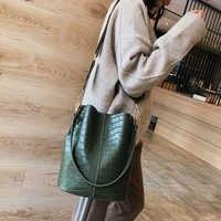 Décontracté y Alligator seau sacs Crocodile femmes sac à main large bandoulière sac à bandoulière sac à main dames sac à main Bolso femenino