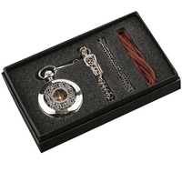 Fashion Hollow Flower Silver Hand Winding Mechanical Pocket Watch Mens Womens Box Bag