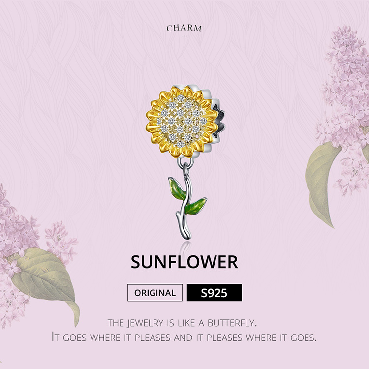 BAMOER Gold Color Sunflower Charm for Women Silver Bracelet 925 Sterling Silver Enamel Leaf Beads DIY Jewelry Accessory SCC1211