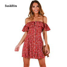57803fabee1f Susi Rita Sexy Off Shoulder Beach Dress Women 2018 Boho Floral Dress Summer  Ruffle Mini Dresses Club