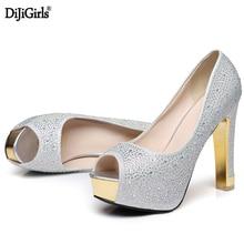 купить Black/Silver/gold heels pumps sexy party Rhinestones dress Female platform high heels vogue peep toe Thick heels women shoes  по цене 1696.81 рублей
