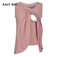 EASY BIG Cotton Women Maternity Tees Tshirts Pregnancy Vest Sleeveless Pregnant Nursing Tank Tops MC0058