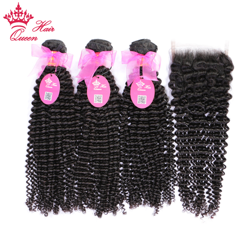 Queen Hair Products 100% Brazilian Human Hair Bundles With Closure Kinky Curly Natural Color 3 Bundles With 4x4 Lace Closure
