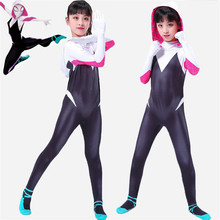 3D kids girls Gwen Stacy Spider-man Cosplay Costume Spiderman Zentai Superhero Bodysuit Suit Jumpsuits
