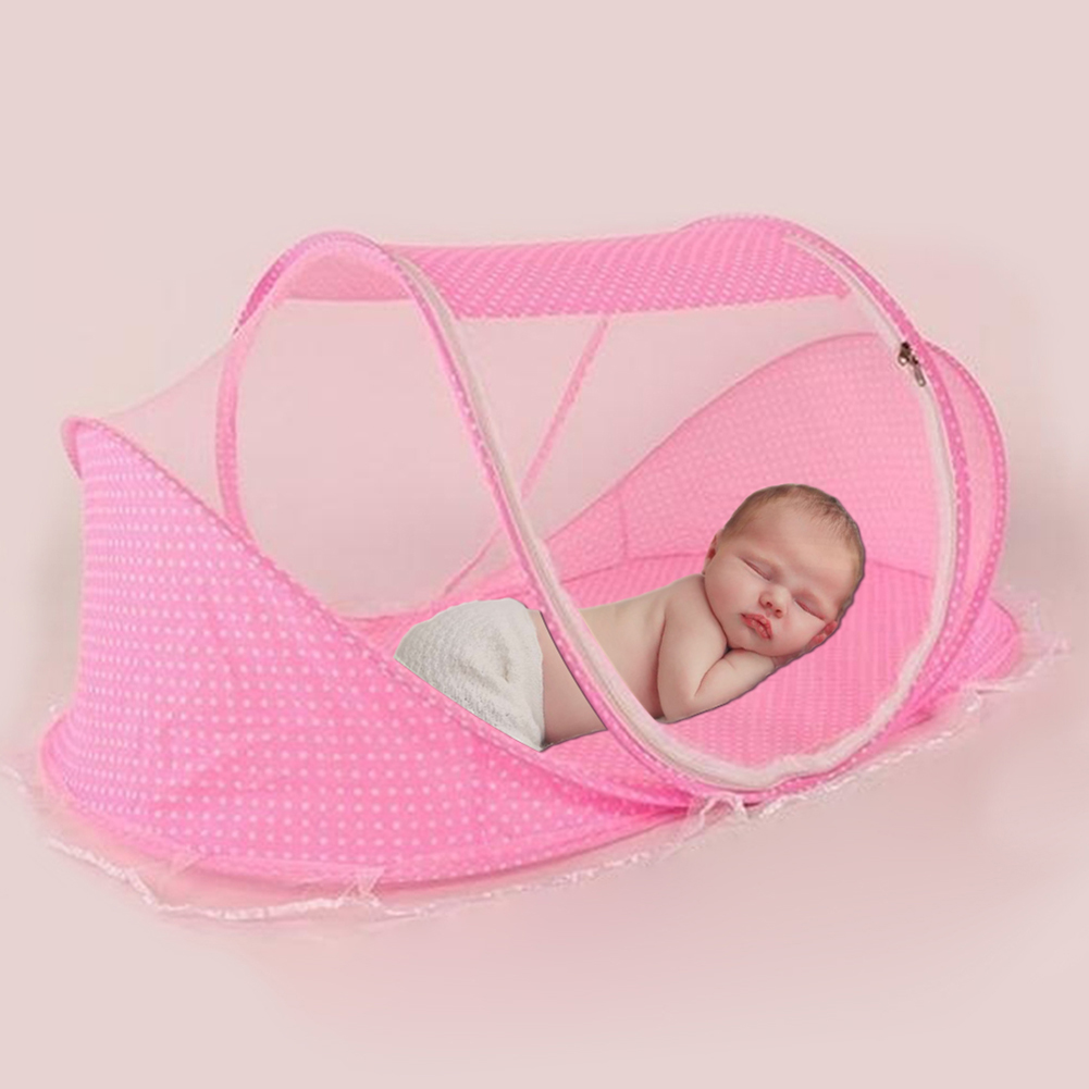 Portable Foldable Newborn Baby Sleeping Crib Bed Mosquito Net Tent with Pillow