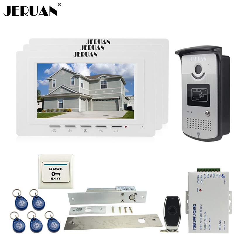 JERUAN luxury 7`` LCD  Video Door Phone three 700TVT Camera access Control System+Electric Drop Bolt lock+Remote control Unlock jeruan black 8 lcd video door phone system 700tvt camera access control system cathode lock remote control 8gb card