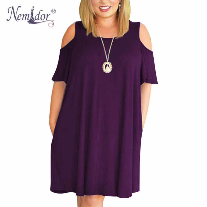 732984e42a5f1a6 Женское Повседневное платье миди с круглым вырезом и открытыми плечами,  большие размеры, летнее платье