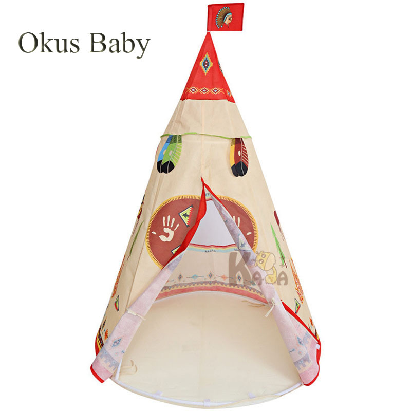 Portable Indian Style Castle Play Tent Children Indoor Outdoor Teepee Tent Children's Tent Playhouses for Kids Children Tent Toy 1pcs children tent natural indian pattern unisex children toy tent cloth teepees safety portable indoor camping game playhouse